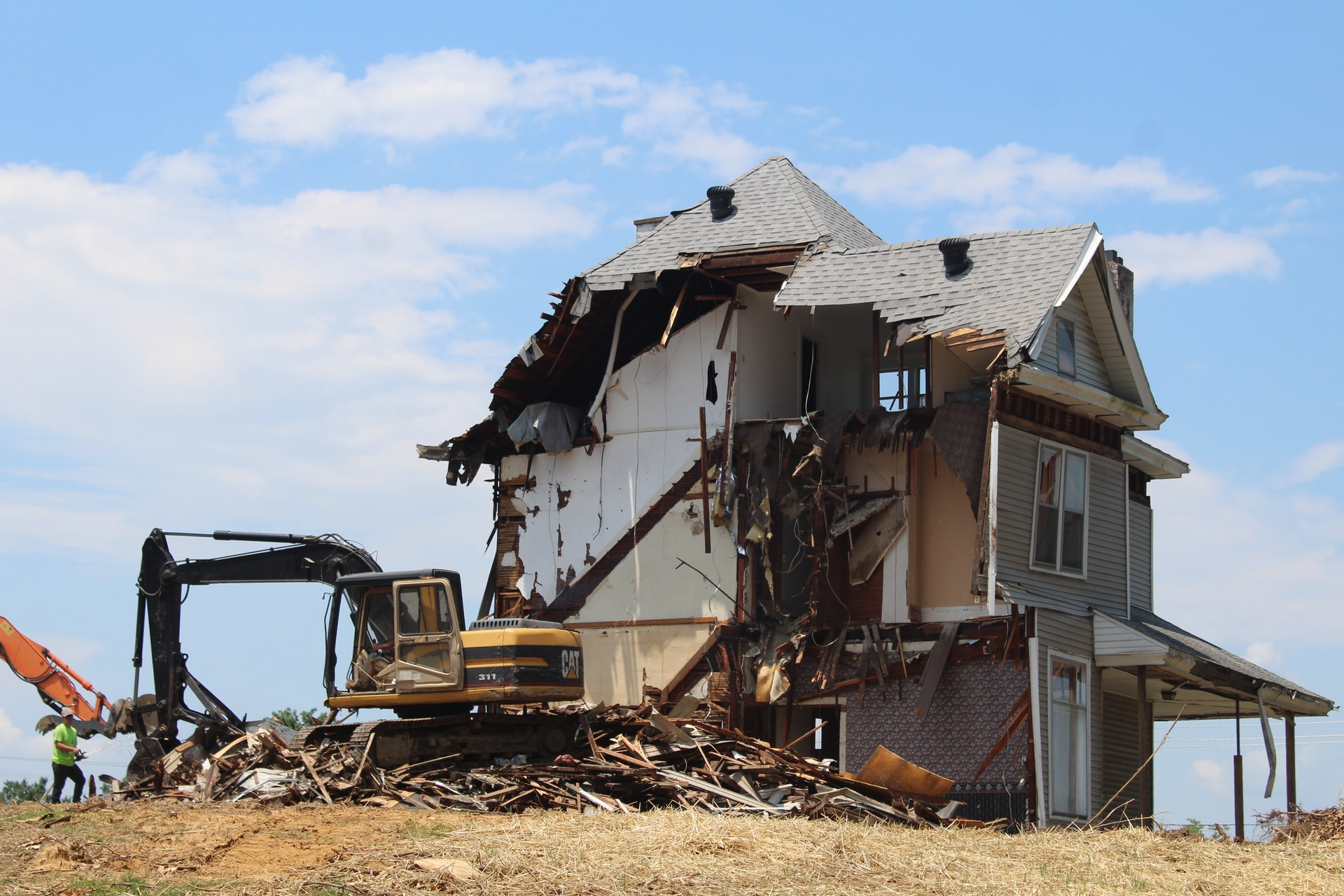 Photo of a house being demolished